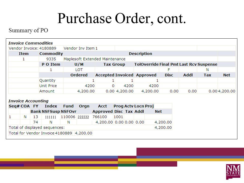 Purchase Order, cont. Summary of PO
