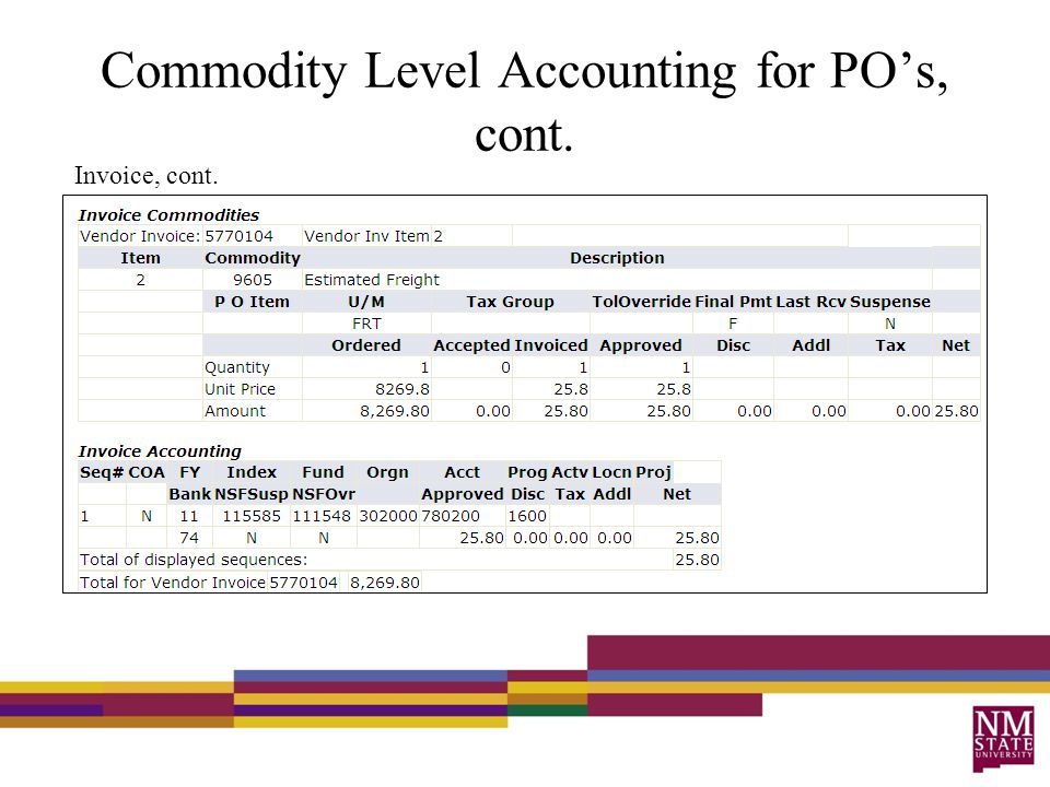 Commodity Level Accounting for PO's, cont. Invoice, cont.
