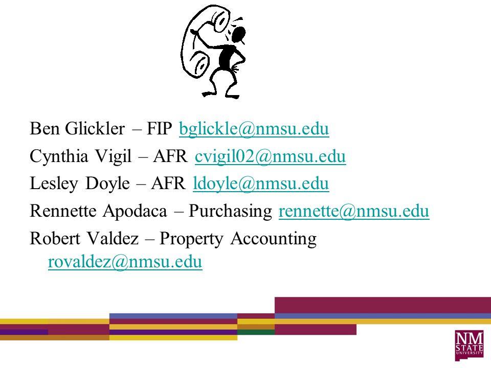 Ben Glickler – FIP bglickle@nmsu.edubglickle@nmsu.edu Cynthia Vigil – AFR cvigil02@nmsu.educvigil02@nmsu.edu Lesley Doyle – AFR ldoyle@nmsu.eduldoyle@