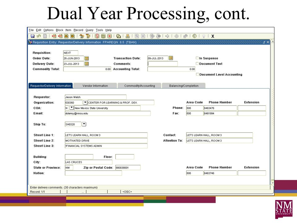 Dual Year Processing, cont.