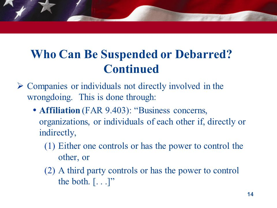 Who Can Be Suspended or Debarred.