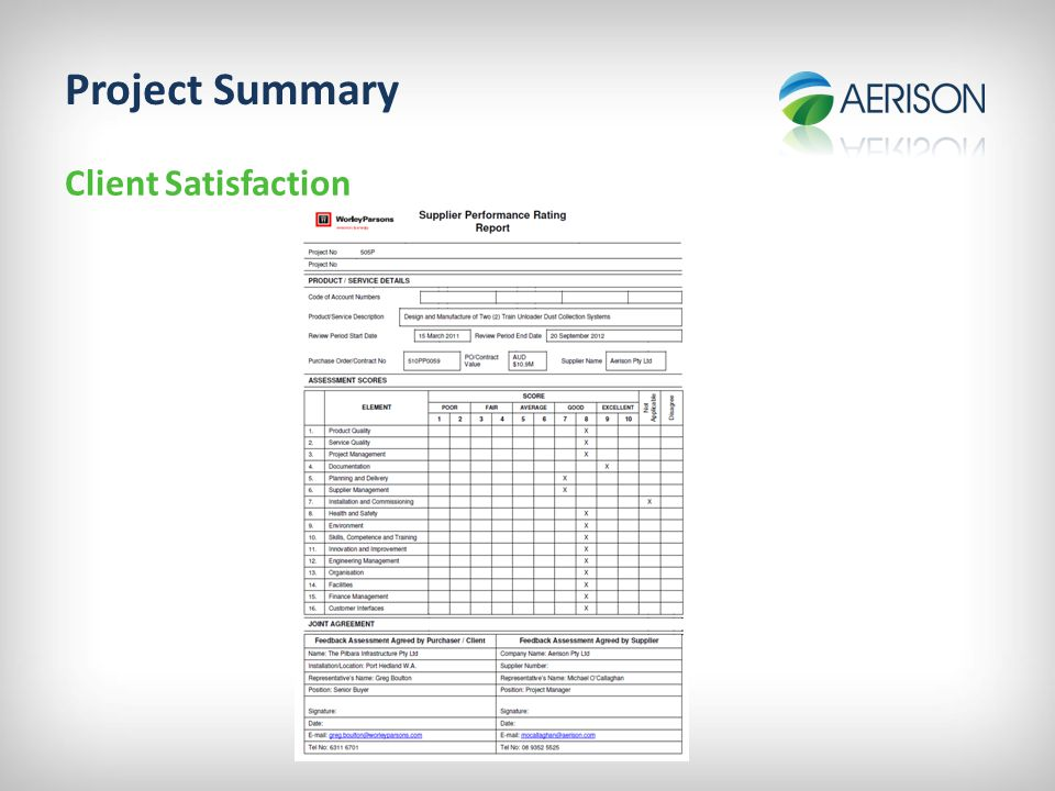 Project Summary Client Satisfaction