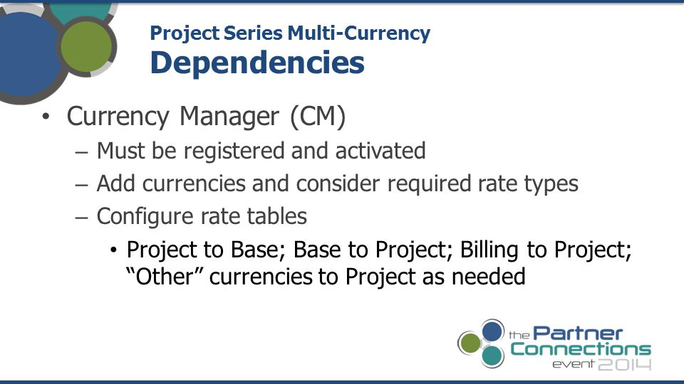 Currency Manager (CM) – Must be registered and activated – Add currencies and consider required rate types – Configure rate tables Project to Base; Ba