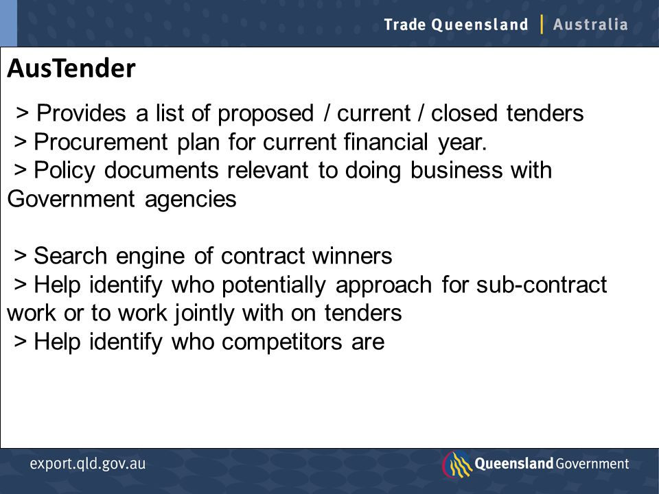 AusTender > Provides a list of proposed / current / closed tenders > Procurement plan for current financial year.