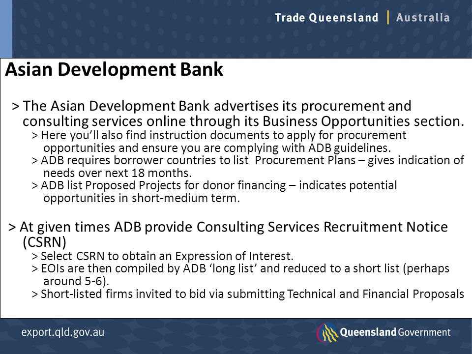 Asian Development Bank > The Asian Development Bank advertises its procurement and consulting services online through its Business Opportunities section.