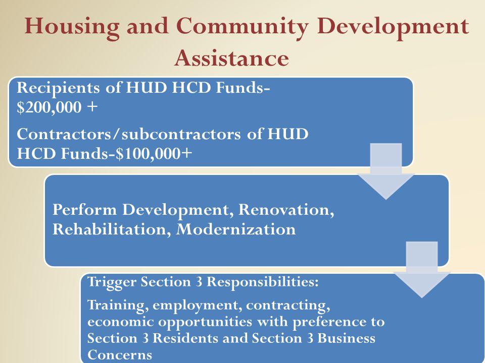 Housing and Community Development Assistance Recipients of HUD HCD Funds- $200,000 + Contractors/subcontractors of HUD HCD Funds-$100,000+ Perform Dev