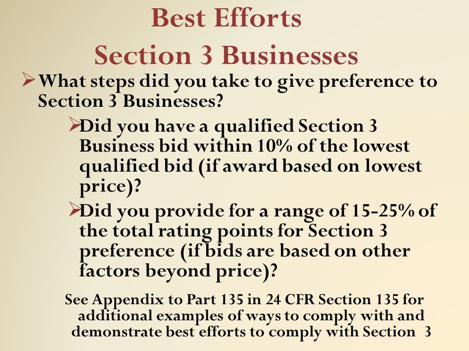 Best Efforts Section 3 Businesses  What steps did you take to give preference to Section 3 Businesses?  Did you have a qualified Section 3 Business
