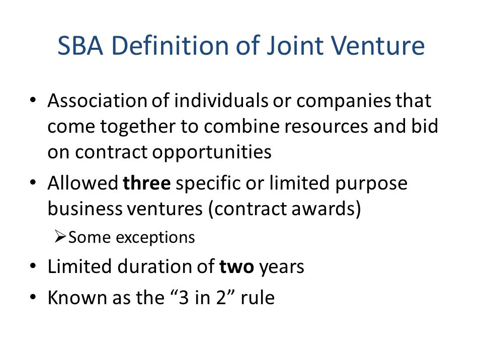Affiliation Members of a joint venture that submit an offer on a procurement are presumed to be affiliated with one another for that procurement If a small business is determined to be affiliated with another company, SBA will aggregate the size of the two companies in determining the small business' size If affiliated size exceeds applicable size standard, JV not eligible for set-aside award