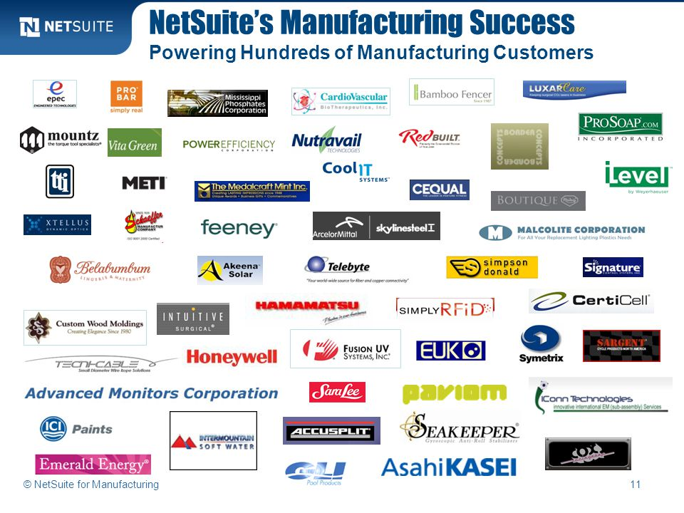 NetSuite's Manufacturing Success Powering Hundreds of Manufacturing Customers 11© NetSuite for Manufacturing