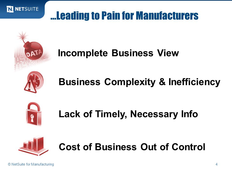 …Leading to Pain for Manufacturers Business Complexity & Inefficiency Incomplete Business View Lack of Timely, Necessary Info Cost of Business Out of Control 4© NetSuite for Manufacturing