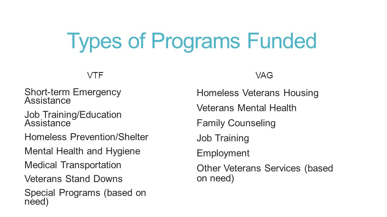 Requirements and Limitations VTF Funds can be expended ONLY for veterans in need of material or financial assistance May support several programs via subcontract or letters of agreement May not support memorials, club renovations, honor guards or tributes to veterans Administrative costs not allowed VAG Applicant organization must provide direct services—strictly pass through funds are not allowed $100,000 maximum allowable Construction, remodeling, memorial, honor guards, veterans tributes are not allowed Administrative costs not allowed