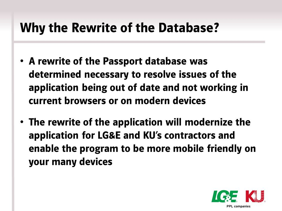 Why the Rewrite of the Database.
