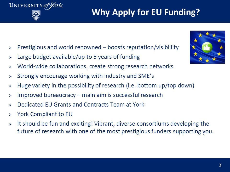 Horizon 2020 Intro   Biggest EU Research and Innovation programme yet, with 79 billion euros of funding available over 7 years (2014 to 2020)   Main Aims of H2020- o o Strengthen the EU's position in sciencescience o o Improve European economy.