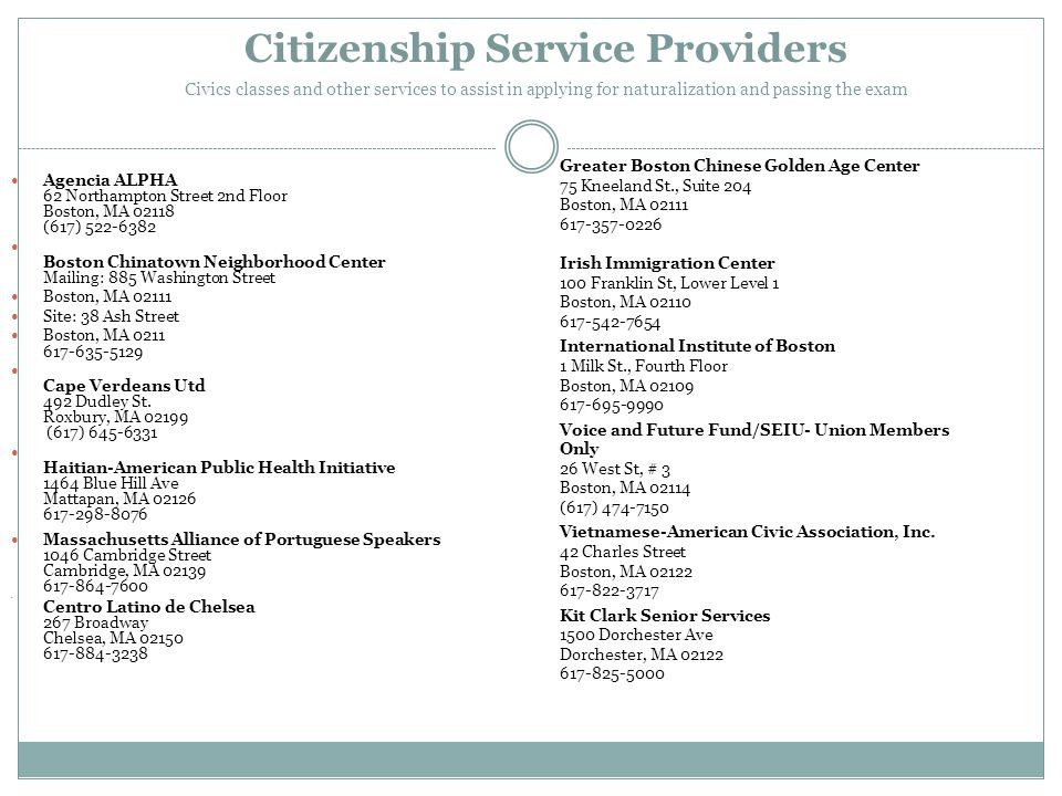 Citizenship Service Providers Civics classes and other services to assist in applying for naturalization and passing the exam Agencia ALPHA 62 Northam