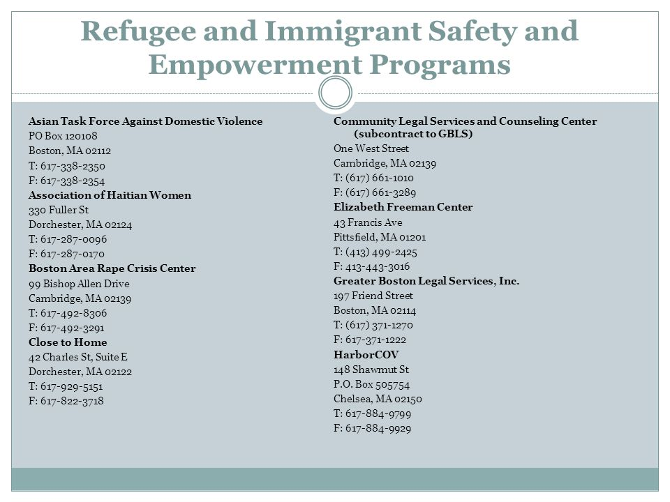 Refugee and Immigrant Safety and Empowerment Programs Asian Task Force Against Domestic Violence PO Box 120108 Boston, MA 02112 T: 617-338-2350 F: 617
