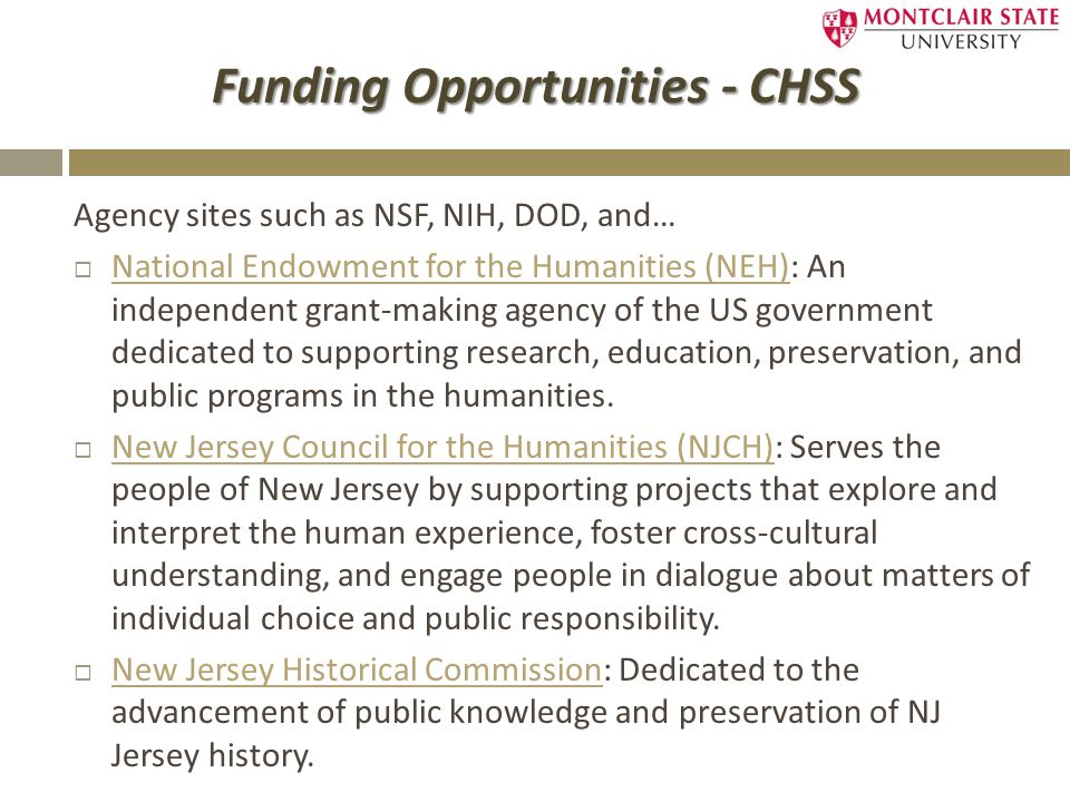 Funding Opportunities - CHSS Agency sites such as NSF, NIH, DOD, and…  National Endowment for the Humanities (NEH): An independent grant-making agency of the US government dedicated to supporting research, education, preservation, and public programs in the humanities.