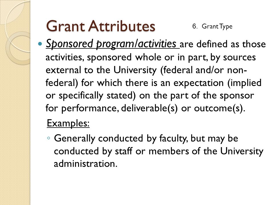Sponsored program/activities are defined as those activities, sponsored whole or in part, by sources external to the University (federal and/or non- f