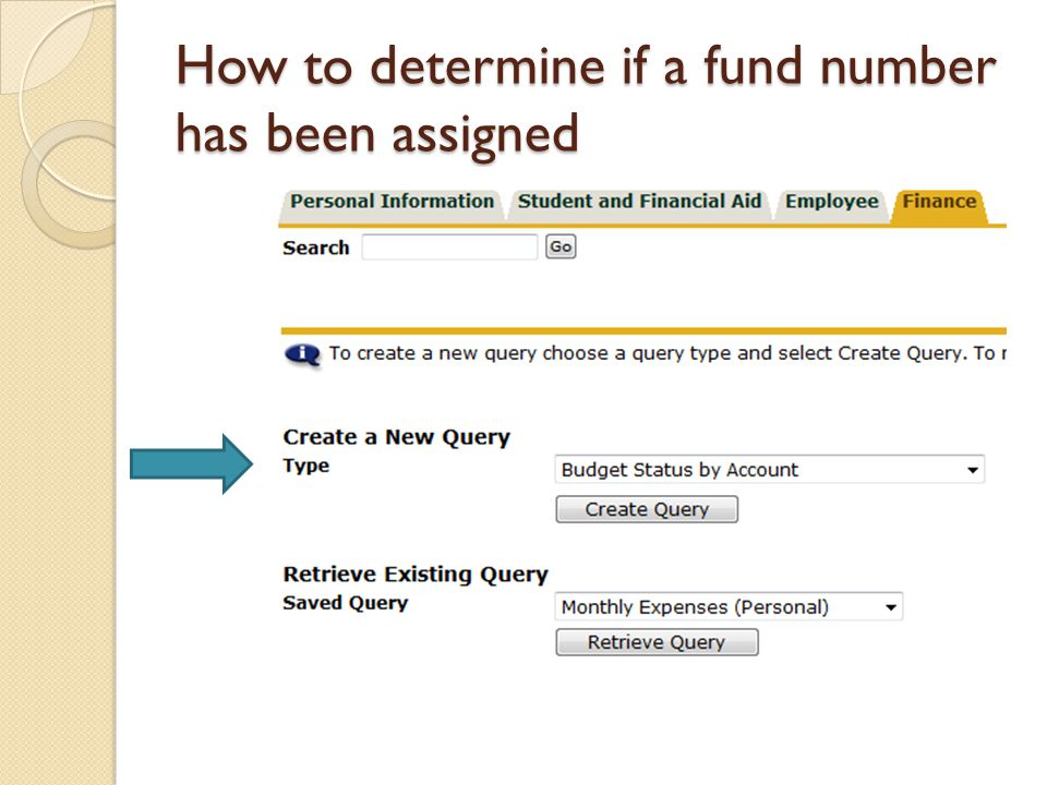 How to determine if a fund number has been assigned