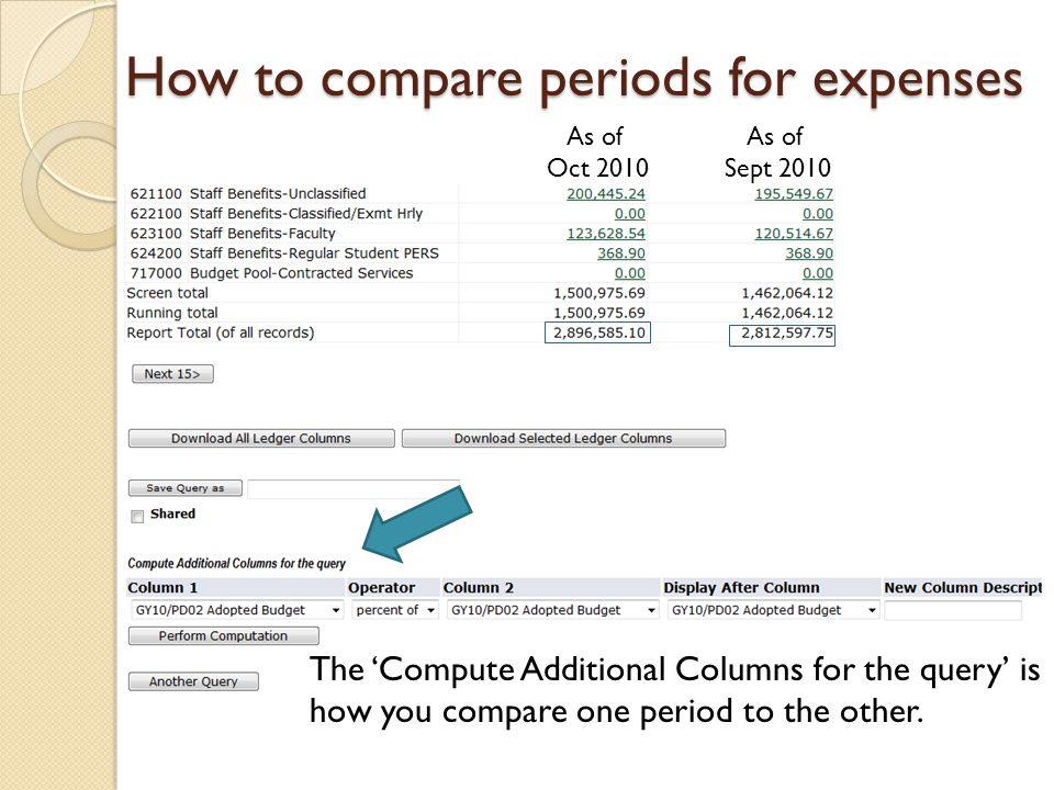 How to compare periods for expenses As of Oct 2010 As of Sept 2010 The 'Compute Additional Columns for the query' is how you compare one period to the other.