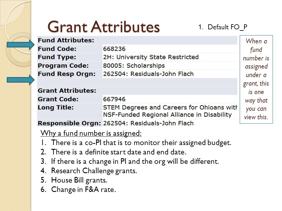 Grant Attributes Why a fund number is assigned: 1.There is a co-PI that is to monitor their assigned budget. 2.There is a definite start date and end