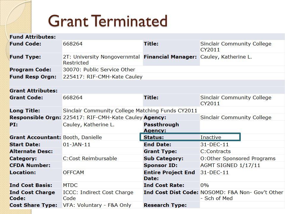 Grant Terminated