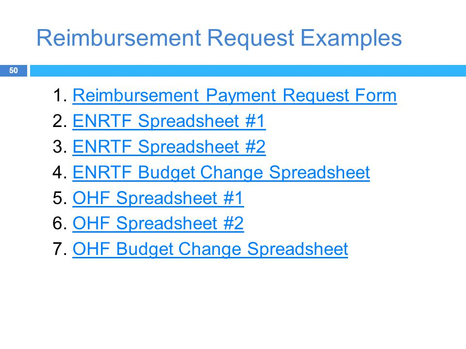 Reimbursement Request Examples 50 1.