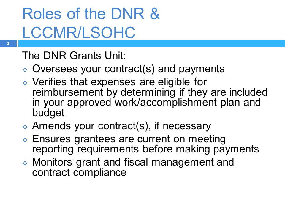Roles of the DNR & LCCMR/LSOHC 8 The DNR Grants Unit:  Oversees your contract(s) and payments  Verifies that expenses are eligible for reimbursement by determining if they are included in your approved work/accomplishment plan and budget  Amends your contract(s), if necessary  Ensures grantees are current on meeting reporting requirements before making payments  Monitors grant and fiscal management and contract compliance