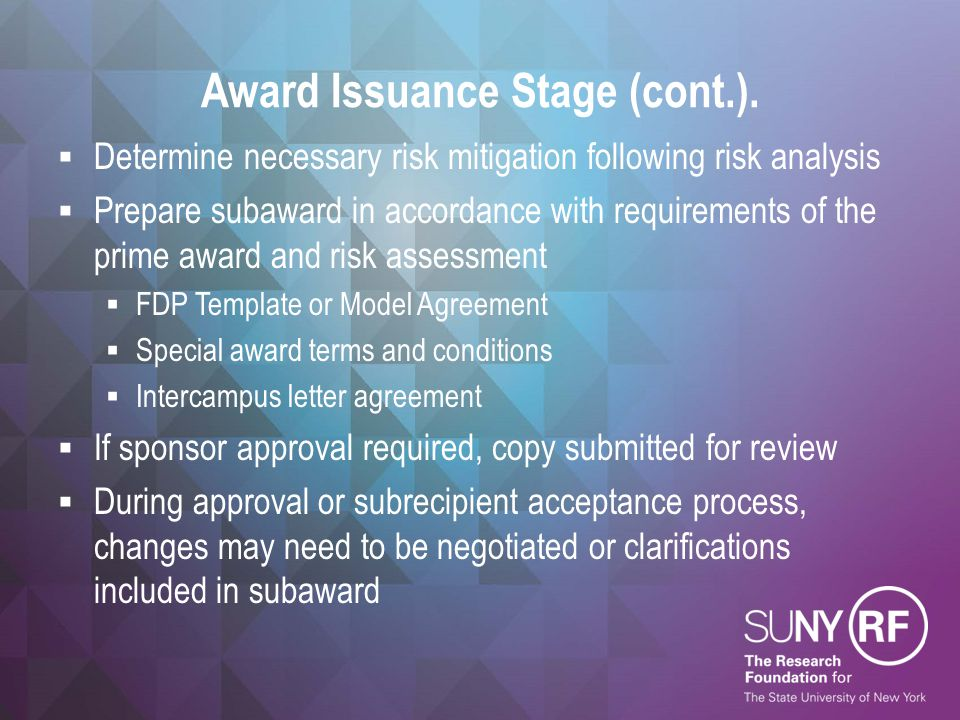 Award Issuance Stage (cont.).