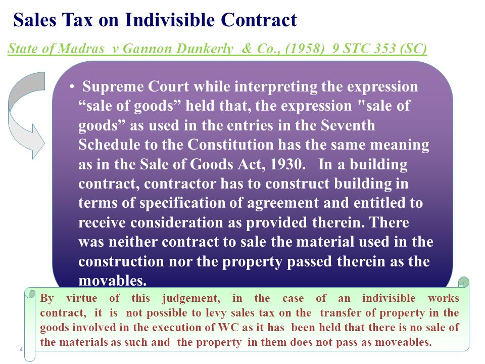 "Sales Tax on Indivisible Contract State of Madras v Gannon Dunkerly & Co., (1958) 9 STC 353 (SC) Supreme Court while interpreting the expression ""sale"