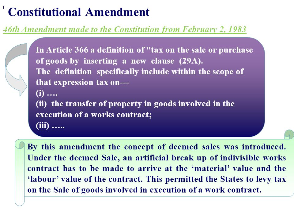 Constitutional Amendment 46th Amendment made to the Constitution from February 2, 1983 In Article 366 a definition of