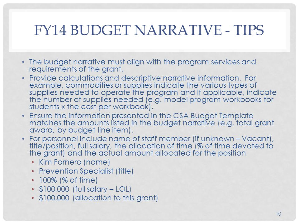 10 FY14 BUDGET NARRATIVE - TIPS The budget narrative must align with the program services and requirements of the grant.