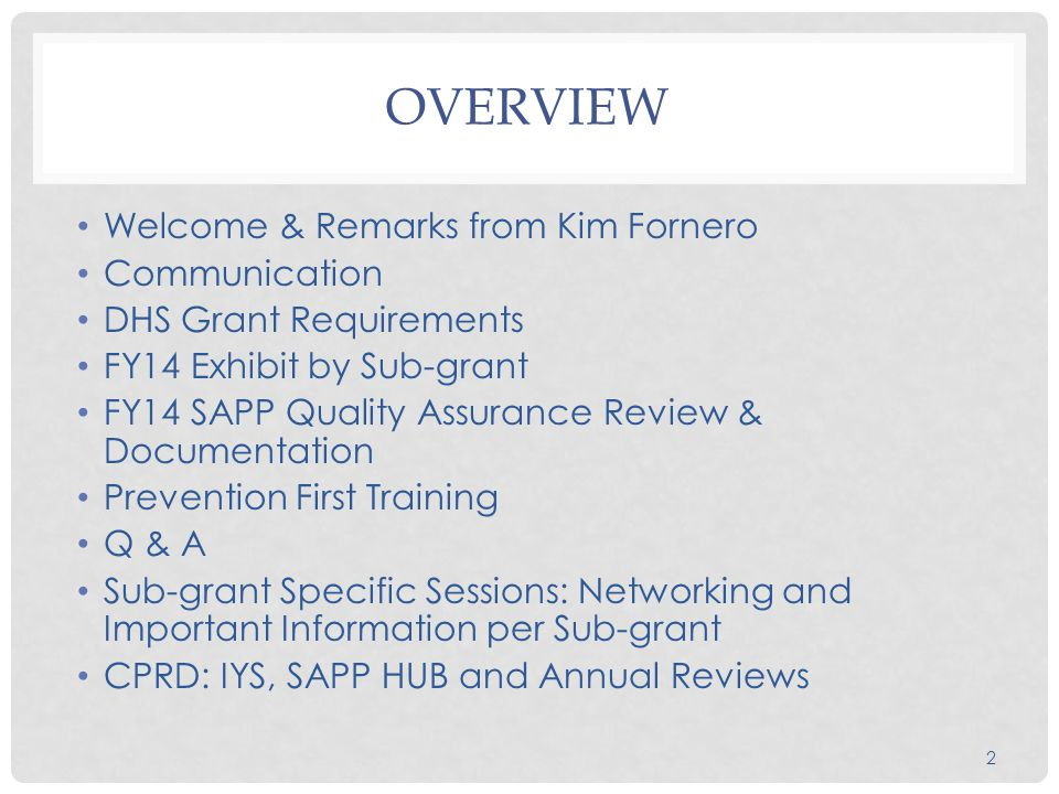 2 OVERVIEW Welcome & Remarks from Kim Fornero Communication DHS Grant Requirements FY14 Exhibit by Sub-grant FY14 SAPP Quality Assurance Review & Documentation Prevention First Training Q & A Sub-grant Specific Sessions: Networking and Important Information per Sub-grant CPRD: IYS, SAPP HUB and Annual Reviews