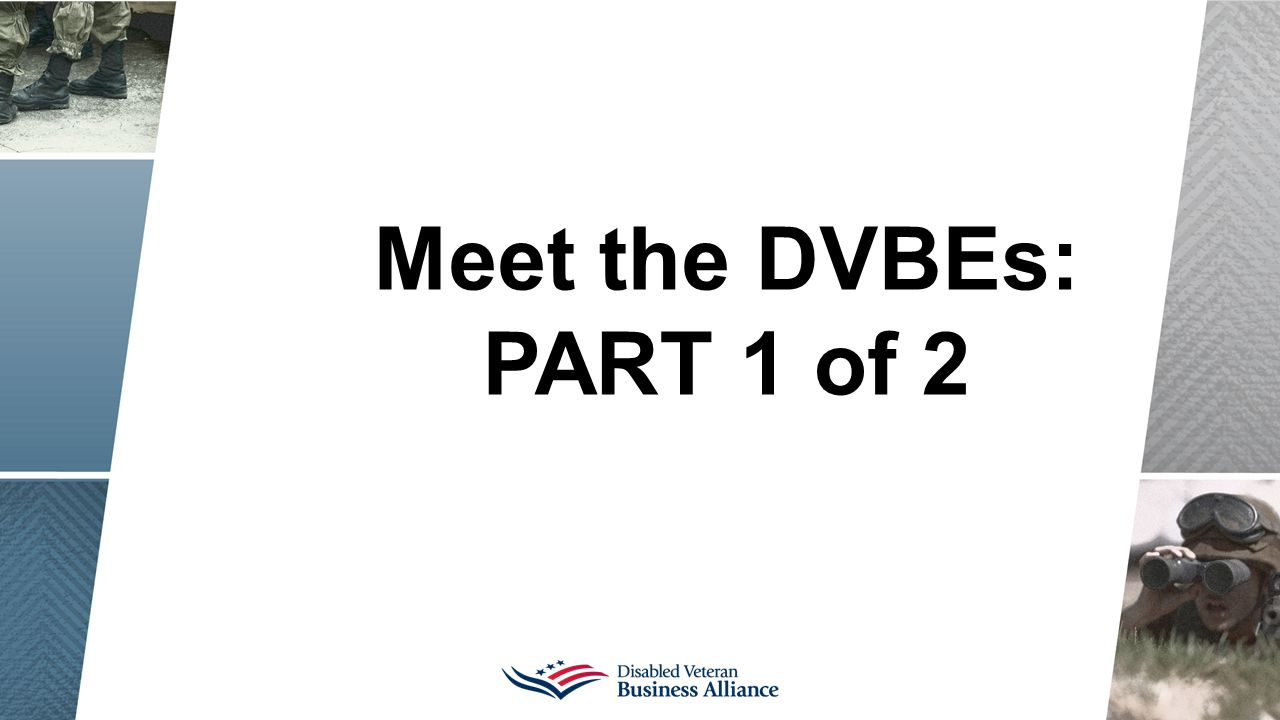 Meet the DVBEs: PART 1 of 2
