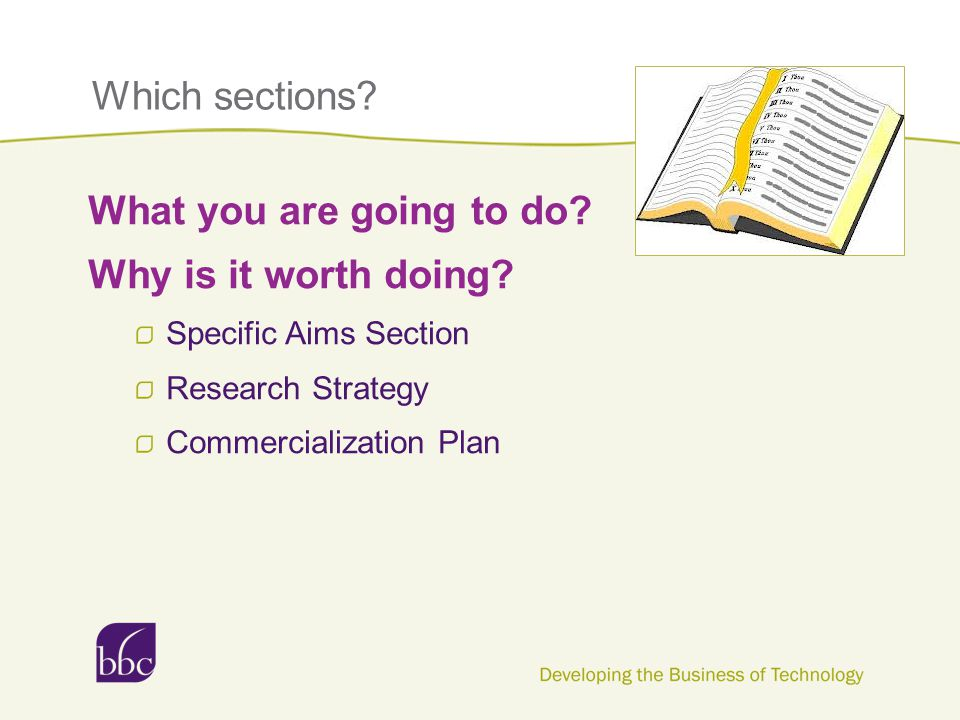 Which sections? What you are going to do? Why is it worth doing? Specific Aims Section Research Strategy Commercialization Plan
