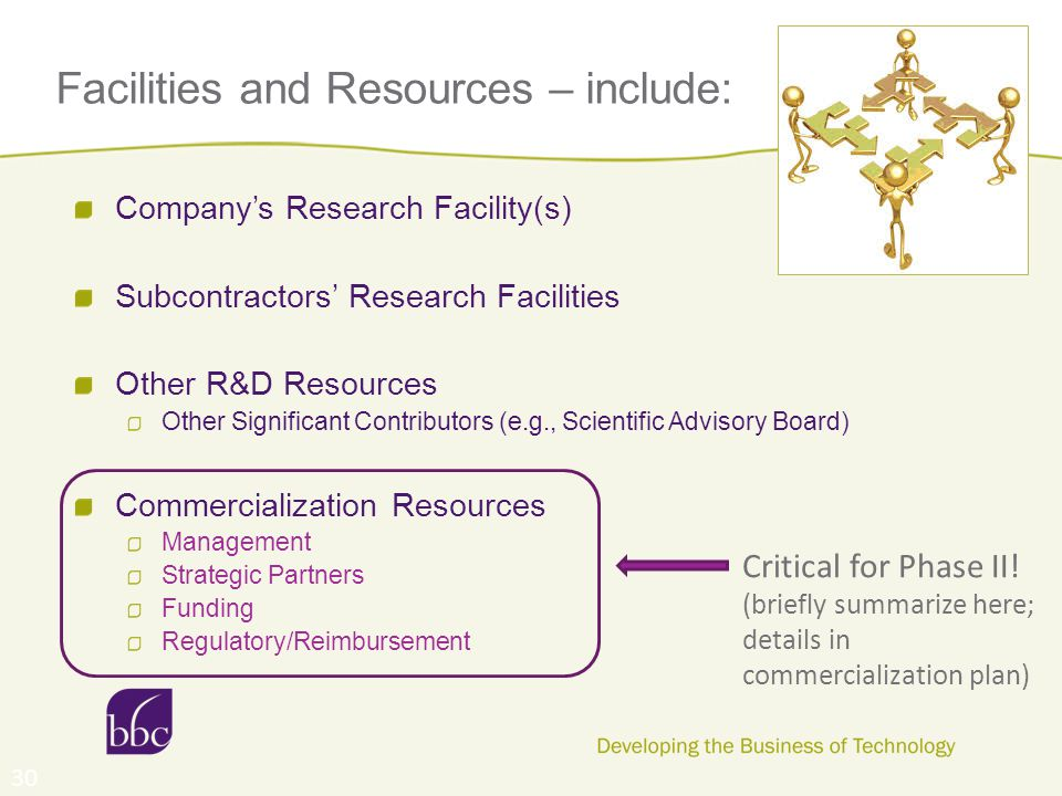 Facilities and Resources – include: Company's Research Facility(s) Subcontractors' Research Facilities Other R&D Resources Other Significant Contributors (e.g., Scientific Advisory Board) Commercialization Resources Management Strategic Partners Funding Regulatory/Reimbursement 30 Critical for Phase II.