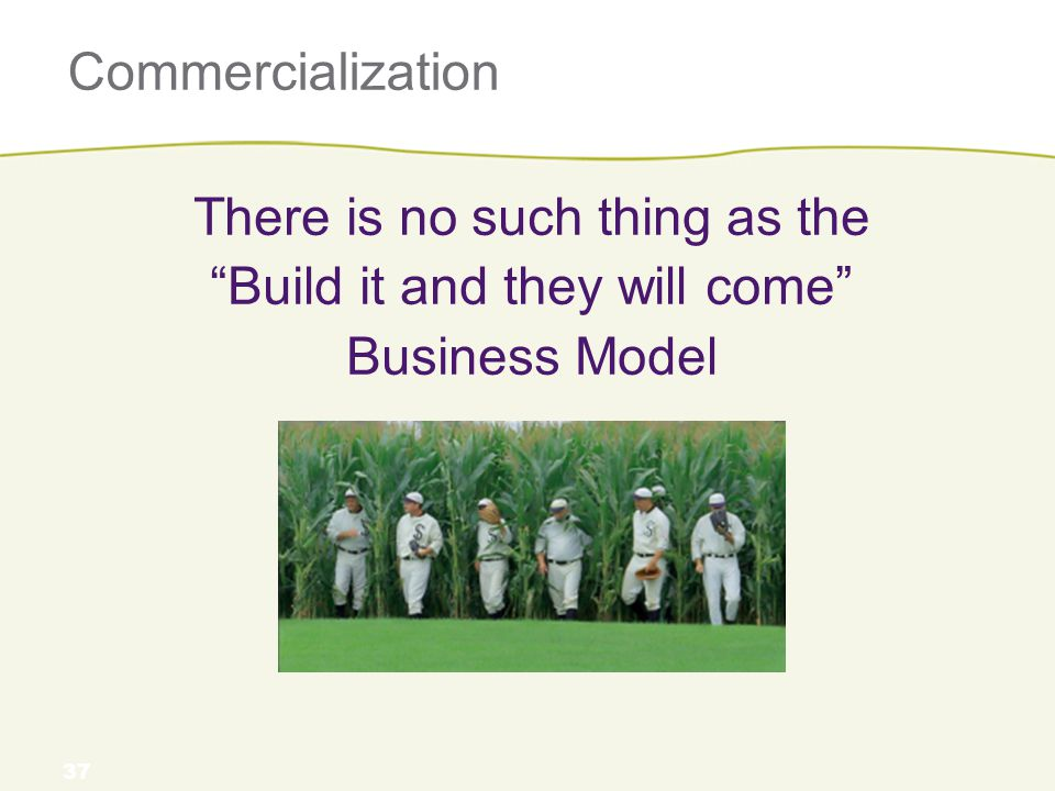"""Commercialization There is no such thing as the """"Build it and they will come"""" Business Model 37"""