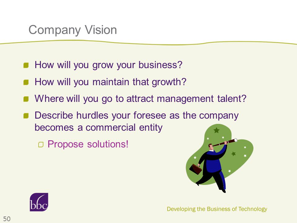 Company Vision How will you grow your business. How will you maintain that growth.