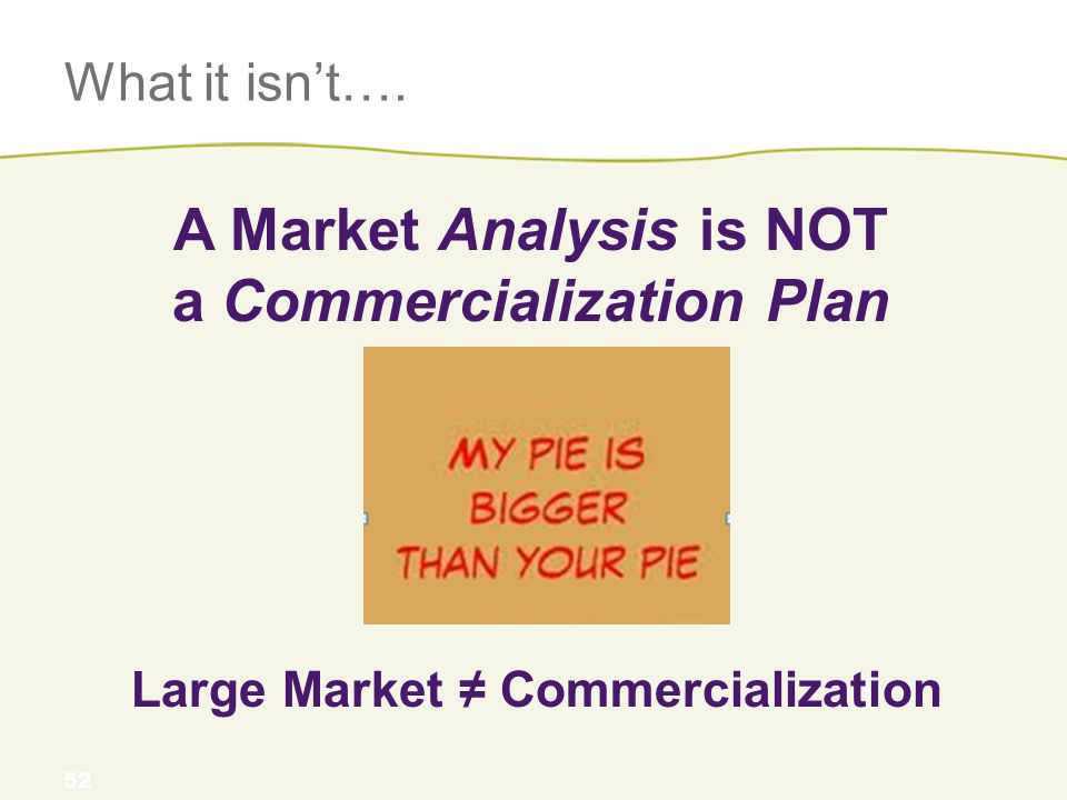 What it isn't…. A Market Analysis is NOT a Commercialization Plan 52 Large Market ≠ Commercialization