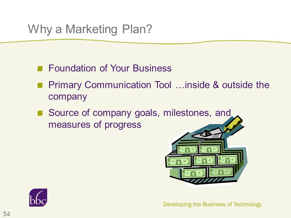 Why a Marketing Plan? Foundation of Your Business Primary Communication Tool …inside & outside the company Source of company goals, milestones, and me