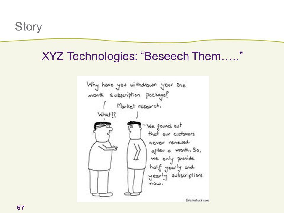 "Story 57 XYZ Technologies: ""Beseech Them….."""