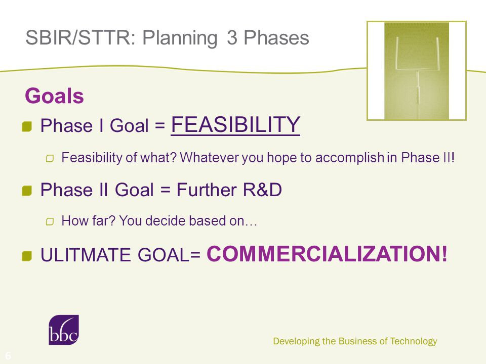 SBIR/STTR: Planning 3 Phases Phase I Goal = FEASIBILITY Feasibility of what? Whatever you hope to accomplish in Phase II! Phase II Goal = Further R&D