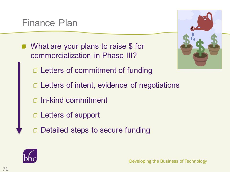 Finance Plan What are your plans to raise $ for commercialization in Phase III? Letters of commitment of funding Letters of intent, evidence of negoti