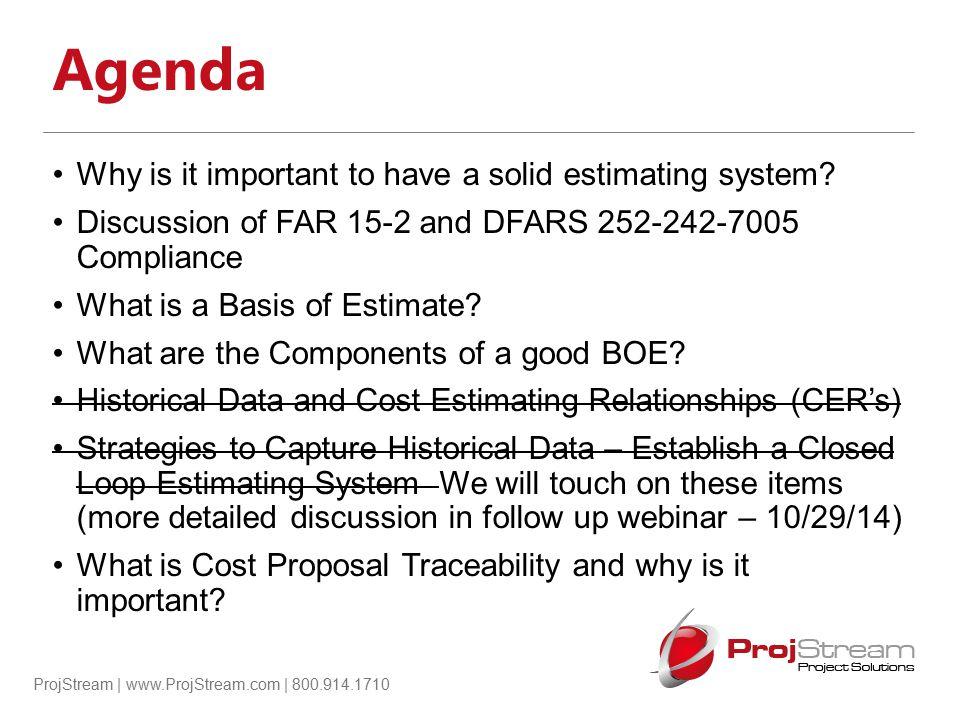 ProjStream | www.ProjStream.com | 800.914.1710 Supplier BOE (Cost and Price Analysis)
