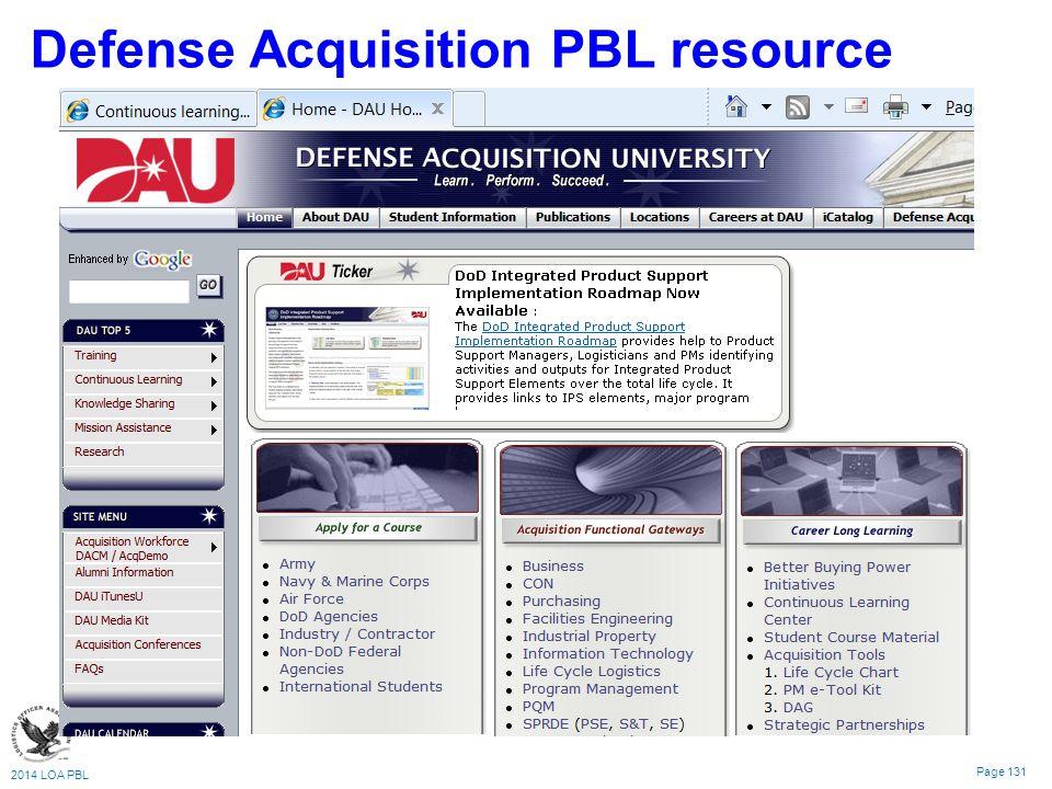 2014 LOA PBL Page 131 Defense Acquisition PBL resource