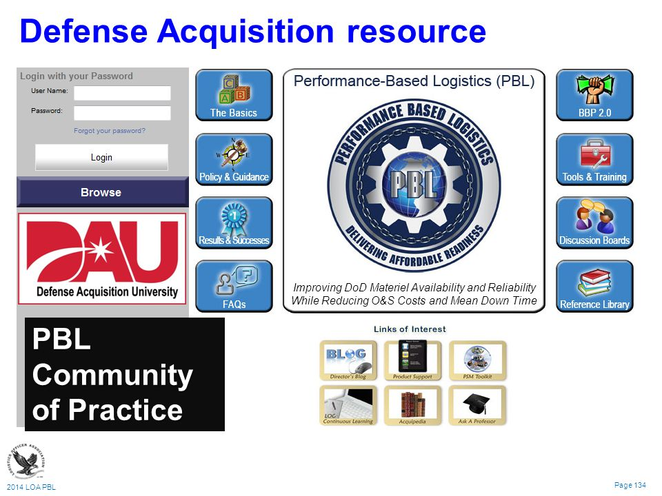 2014 LOA PBL Page 134 Defense Acquisition resource PBL Community of Practice Improving DoD Materiel Availability and Reliability While Reducing O&S Costs and Mean Down Time