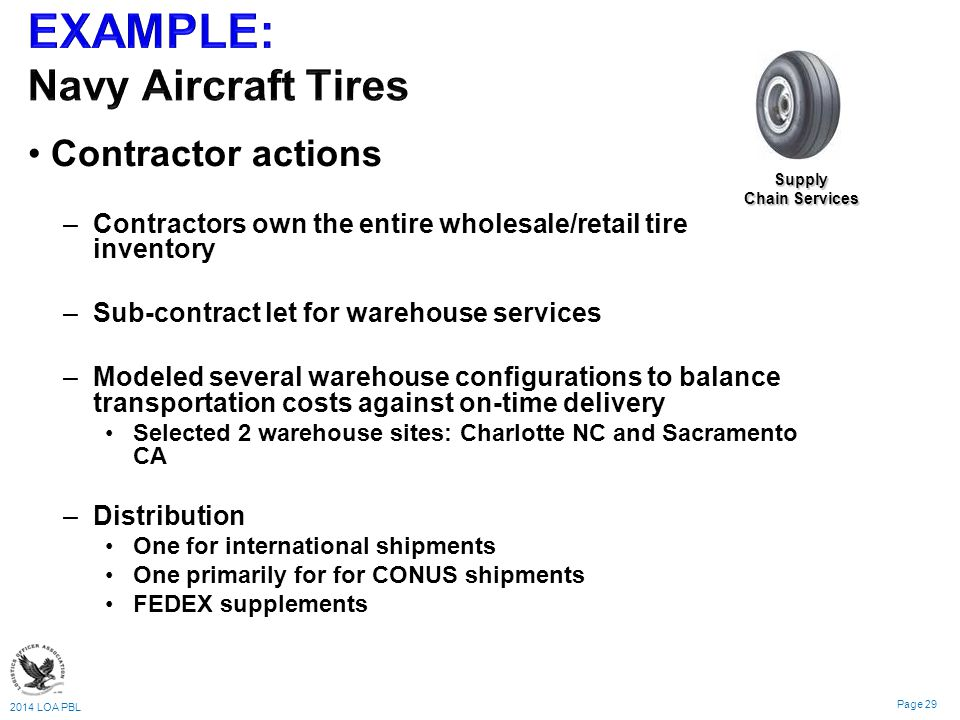 2014 LOA PBL Page 29 Contractor actions – –Contractors own the entire wholesale/retail tire inventory – –Sub-contract let for warehouse services – –Modeled several warehouse configurations to balance transportation costs against on-time delivery Selected 2 warehouse sites: Charlotte NC and Sacramento CA – –Distribution One for international shipments One primarily for for CONUS shipments FEDEX supplements Supply Chain Services