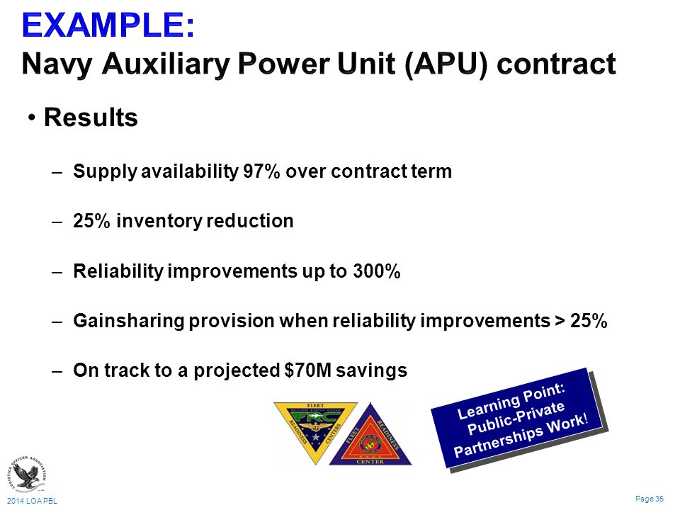 2014 LOA PBL Page 35 Results – –Supply availability 97% over contract term – –25% inventory reduction – –Reliability improvements up to 300% – –Gainsharing provision when reliability improvements > 25% – –On track to a projected $70M savings Learning Point: Public-Private Partnerships Work!
