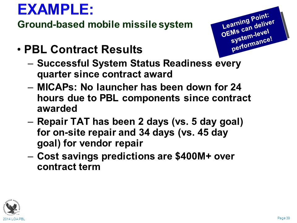 2014 LOA PBL Page 39 PBL Contract Results – –Successful System Status Readiness every quarter since contract award – –MICAPs: No launcher has been down for 24 hours due to PBL components since contract awarded – –Repair TAT has been 2 days (vs.