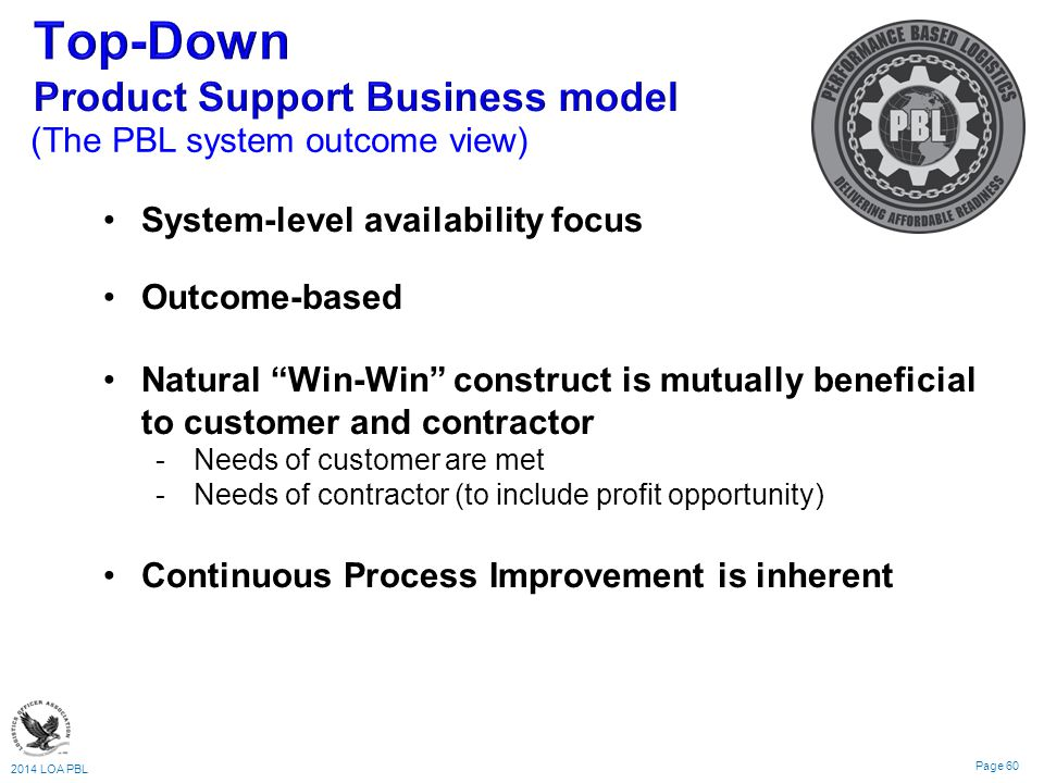 2014 LOA PBL Page 60 (The PBL system outcome view) System-level availability focus Outcome-based Natural Win-Win construct is mutually beneficial to customer and contractor Needs of customer are met Needs of contractor (to include profit opportunity) Continuous Process Improvement is inherent