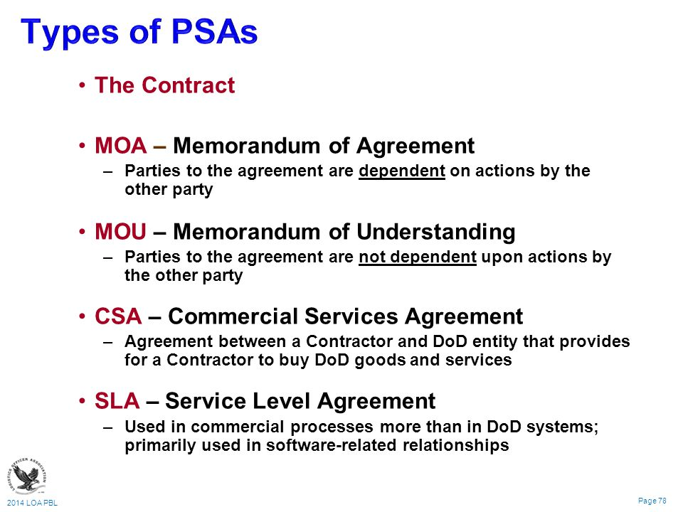 2014 LOA PBL Page 78 The Contract MOA – Memorandum of Agreement – –Parties to the agreement are dependent on actions by the other party MOU – Memorandum of Understanding – –Parties to the agreement are not dependent upon actions by the other party CSA – Commercial Services Agreement – –Agreement between a Contractor and DoD entity that provides for a Contractor to buy DoD goods and services SLA – Service Level Agreement – –Used in commercial processes more than in DoD systems; primarily used in software-related relationships